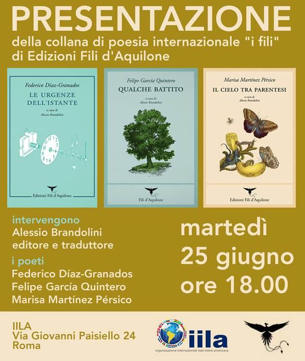"""A Roma i poeti della collana di poesia """"I Fili"""""""