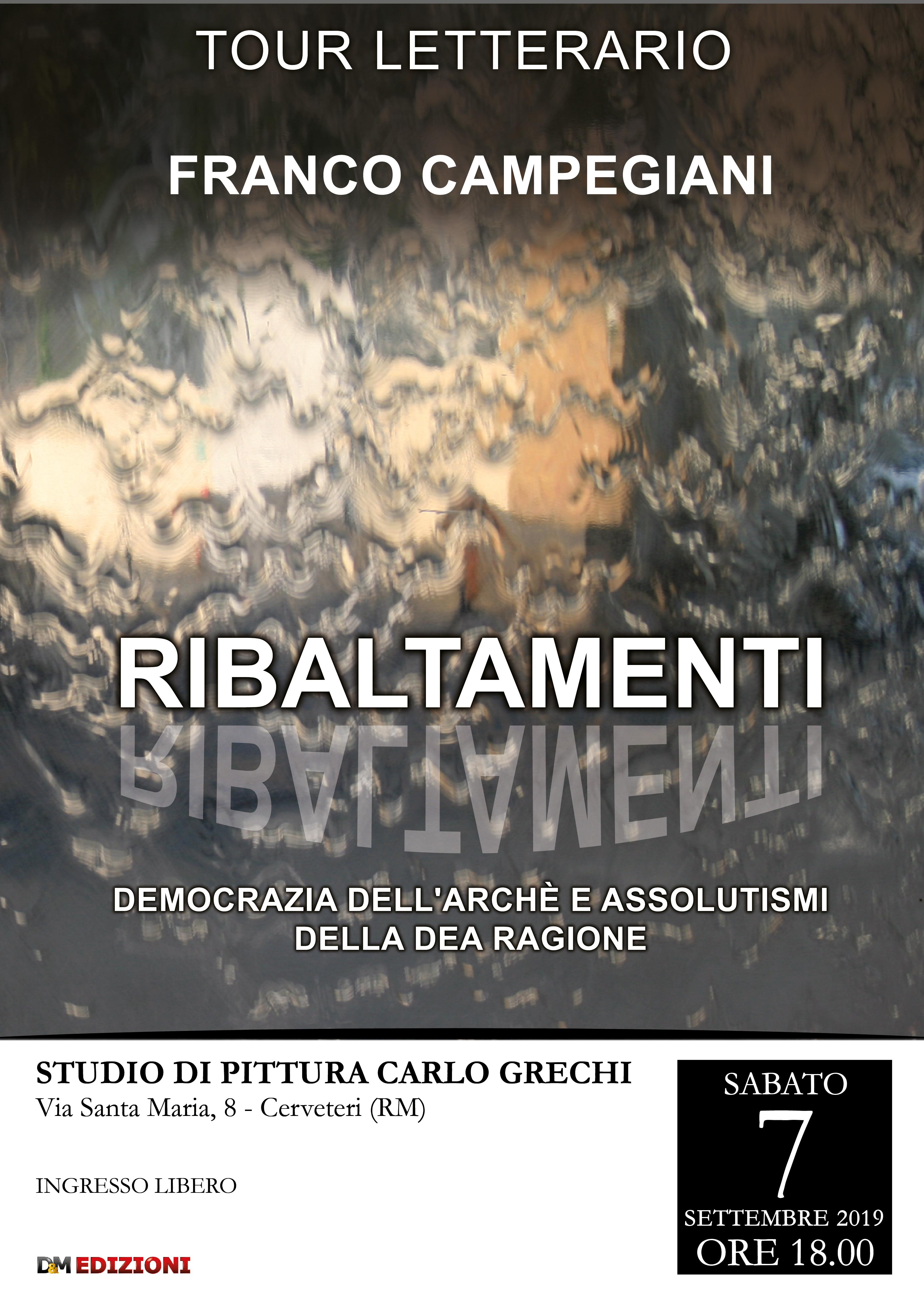 """A Cerveteri Franco Campegiani presenta il libro """"Ribaltamenti"""""""
